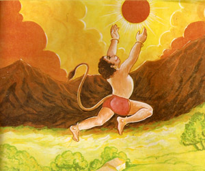 Hanuman swallowing sun